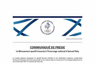 Communiqué de presse du CNOSF